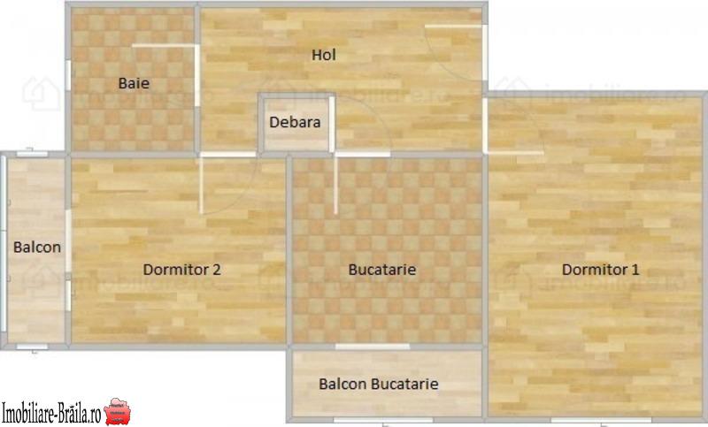 Apartament 2 camere + mansardă, etaj 4/4, suprafață de 52 mp.